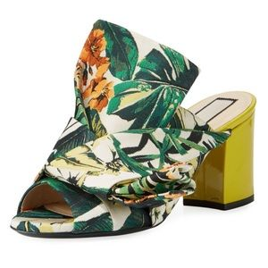 No 21 Chunky Heel Mules Slides Palms Floral Shoes
